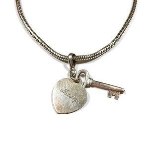 Vintage Sterling Silver Mary Heart Key Bracelet